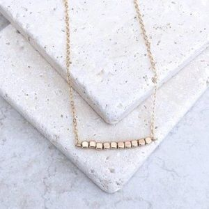 NEW!! Gold Beaded Bar Necklace